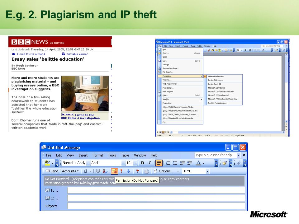 E.g. 2. Plagiarism and IP theft
