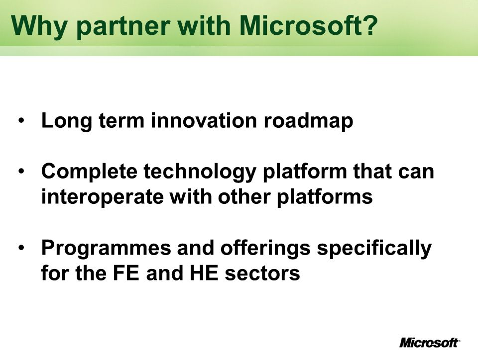 Why partner with Microsoft.