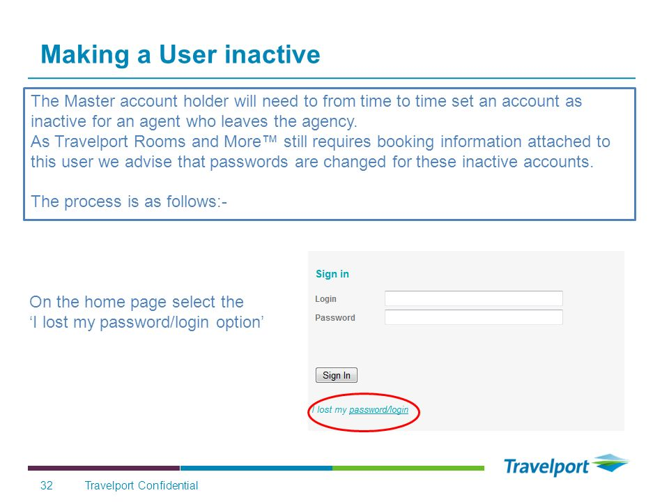 Making a User inactive The Master account holder will need to from time to time set an account as inactive for an agent who leaves the agency.