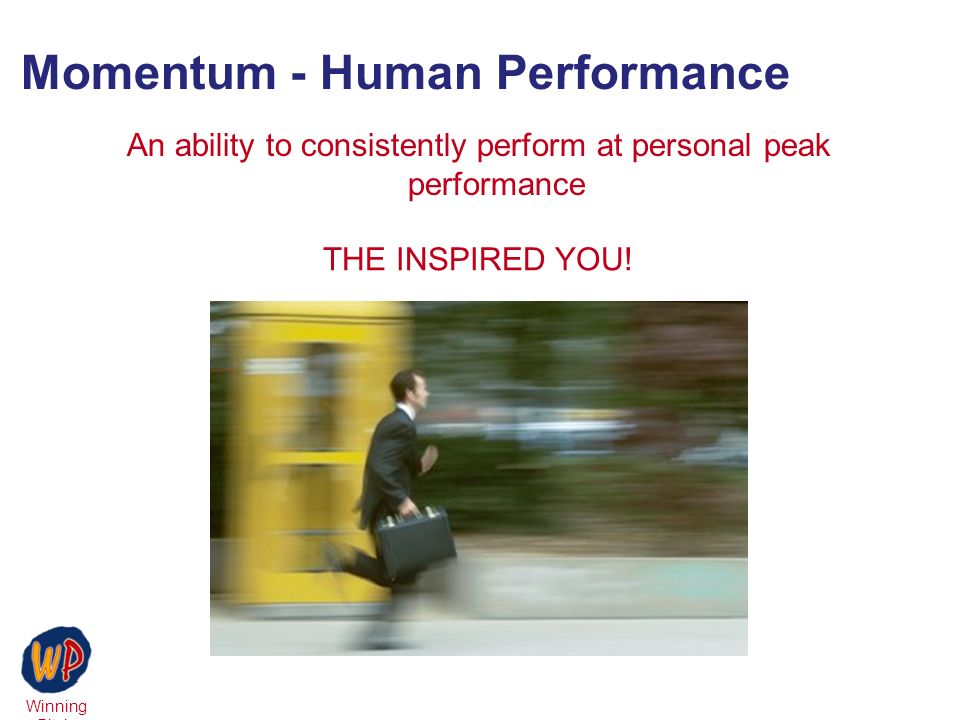 Winning Pitch Momentum - Human Performance An ability to consistently perform at personal peak performance THE INSPIRED YOU!