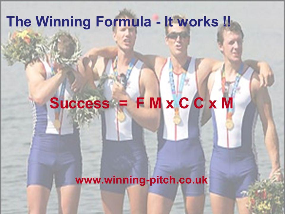 Winning Pitch The Winning Formula - It works !! Success = F M x C C x M www.winning-pitch.co.uk