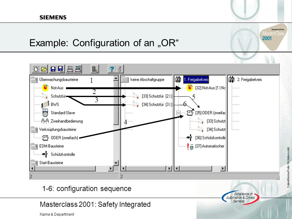 Masterclass 2001: Safety Integrated Excellencein Automation&Drives: Siemens Folienthema/Folie 16/Jahreszahl Name & Department 1 2 3 4 5 6 1-6: configuration sequence Example: Configuration of an OR