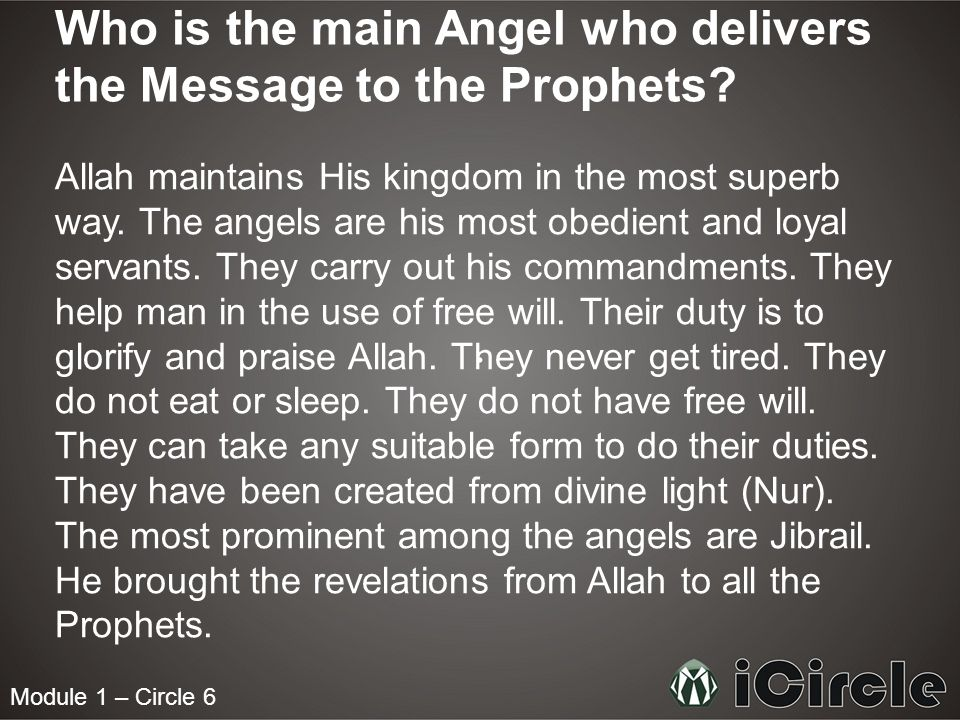 Module 1 – Circle 6 Who is the main Angel who delivers the Message to the Prophets.