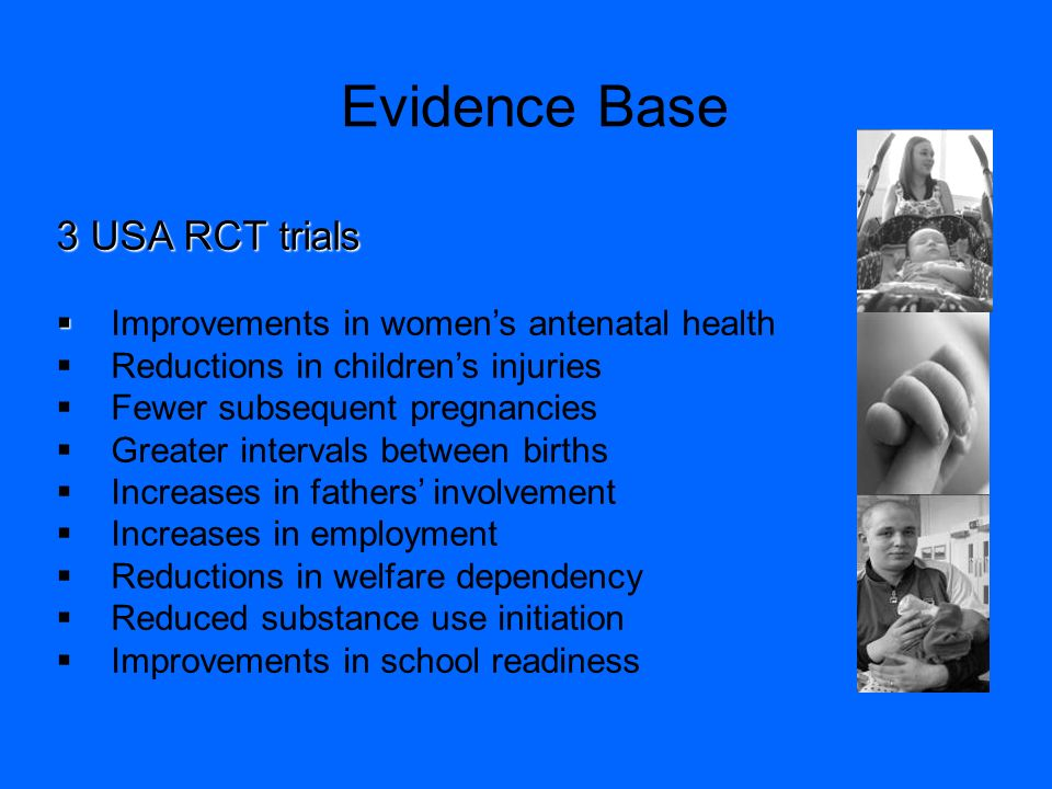 Evidence Base 3 USA RCT trials Improvements in womens antenatal health Reductions in childrens injuries Fewer subsequent pregnancies Greater intervals