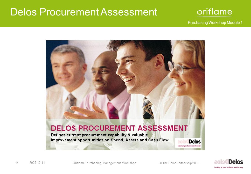Purchasing Workshop Module 1 © The Delos Partnership 2005 2005-10-11 Oriflame Purchasing Management Workshop16 Procurement – Value Gap Analysis The Delos Partnership has assessed procurement capability and the value gap in businesses ranging from large multinationals through to S.M.E. s, across all of the spend & territory map and in many market segments.
