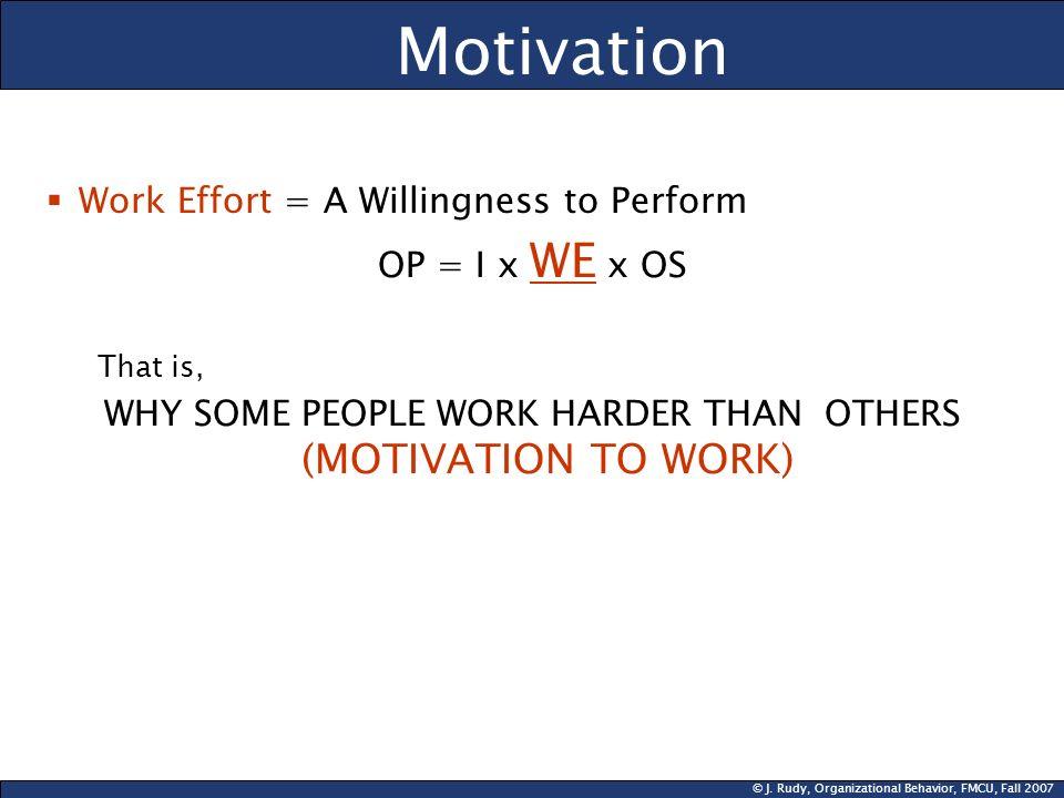 © J.Rudy, Organizational Behavior, FMCU, Fall 2007 Why Is Motivation Important.
