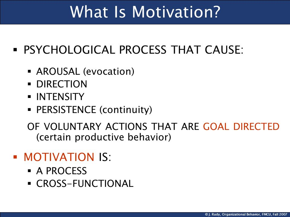 © J. Rudy, Organizational Behavior, FMCU, Fall 2007 What Is Motivation? PSYCHOLOGICAL PROCESS THAT CAUSE: AROUSAL (evocation) DIRECTION INTENSITY PERS