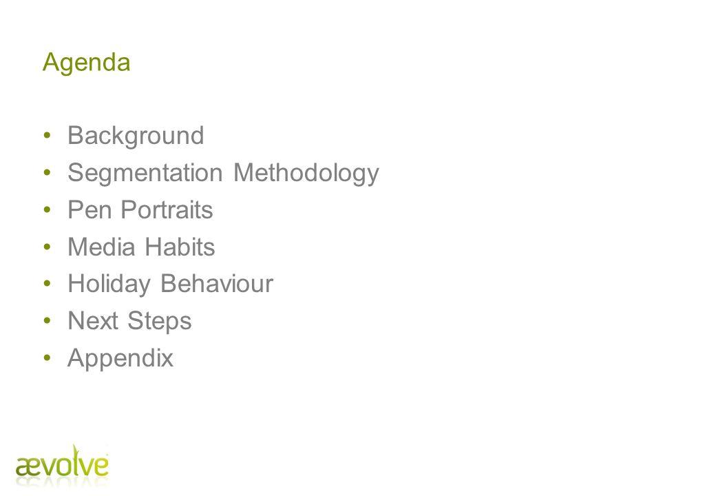 Agenda Background Segmentation Methodology Pen Portraits Media Habits Holiday Behaviour Next Steps Appendix