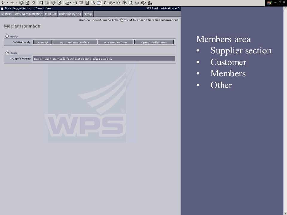 Members area Supplier section Customer Members Other
