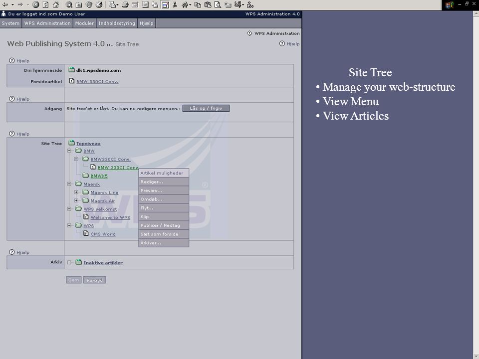 Site Tree Manage your web-structure View Menu View Articles
