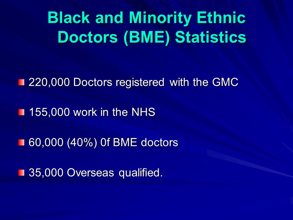 Black and Minority Ethnic Doctors (BME) Statistics 220,000 Doctors registered with the GMC 155,000 work in the NHS 60,000 (40%) 0f BME doctors 35,000 Overseas qualified.