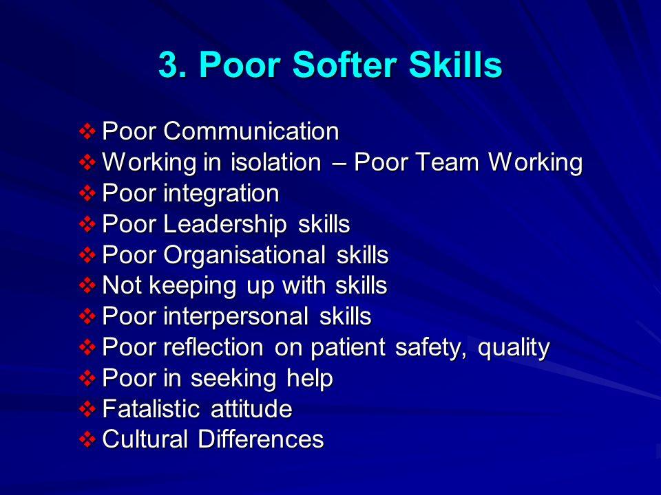 3. Poor Softer Skills Poor Communication Poor Communication Working in isolation – Poor Team Working Working in isolation – Poor Team Working Poor int