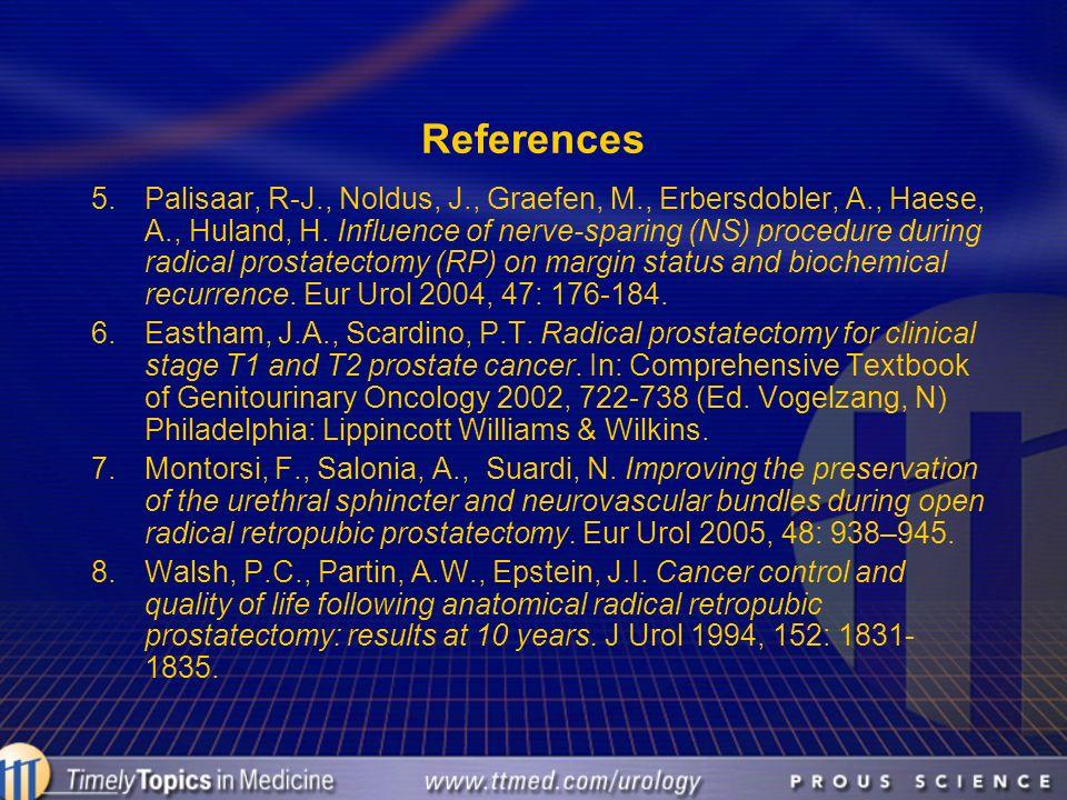 References 5.Palisaar, R-J., Noldus, J., Graefen, M., Erbersdobler, A., Haese, A., Huland, H. Influence of nerve-sparing (NS) procedure during radical