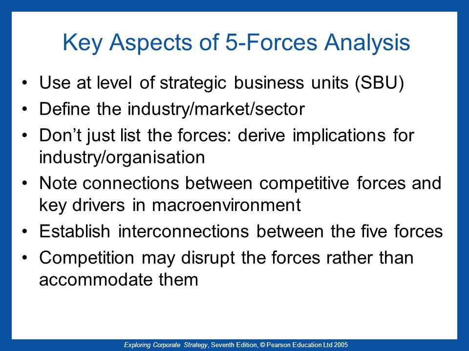 Exploring Corporate Strategy, Seventh Edition, © Pearson Education Ltd 2005 Key Aspects of 5-Forces Analysis Use at level of strategic business units