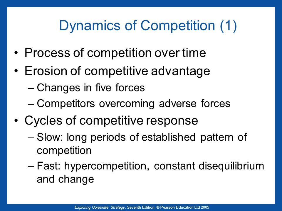 Exploring Corporate Strategy, Seventh Edition, © Pearson Education Ltd 2005 Dynamics of Competition (1) Process of competition over time Erosion of competitive advantage –Changes in five forces –Competitors overcoming adverse forces Cycles of competitive response –Slow: long periods of established pattern of competition –Fast: hypercompetition, constant disequilibrium and change
