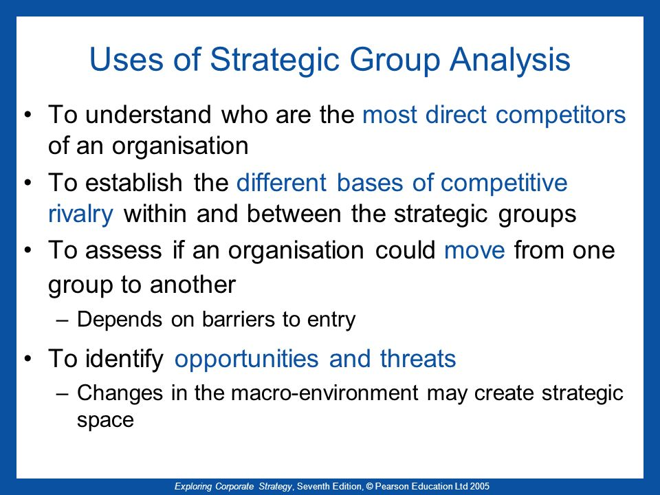Exploring Corporate Strategy, Seventh Edition, © Pearson Education Ltd 2005 Uses of Strategic Group Analysis To understand who are the most direct com