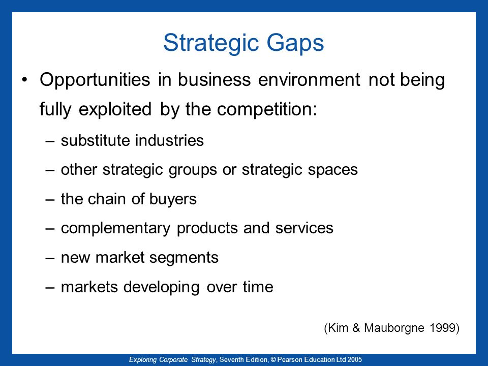 Exploring Corporate Strategy, Seventh Edition, © Pearson Education Ltd 2005 Strategic Gaps Opportunities in business environment not being fully exploited by the competition: –substitute industries –other strategic groups or strategic spaces –the chain of buyers –complementary products and services –new market segments –markets developing over time (Kim & Mauborgne 1999)