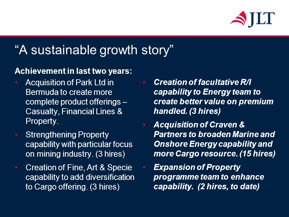 A sustainable growth story Achievement in last two years: Acquisition of Park Ltd in Bermuda to create more complete product offerings – Casualty, Fin