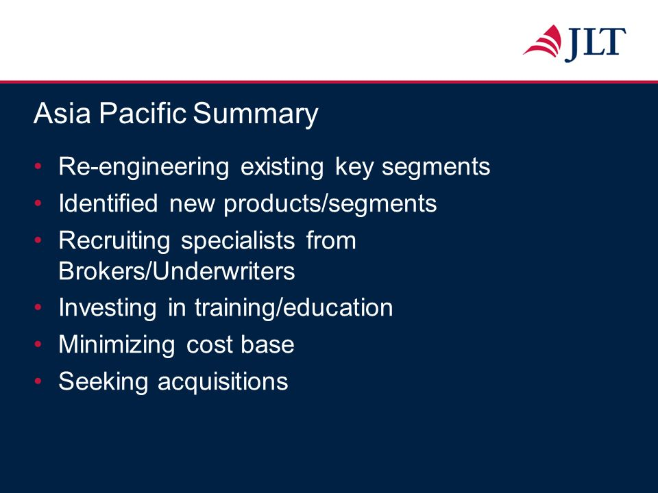 Asia Pacific Summary Re-engineering existing key segments Identified new products/segments Recruiting specialists from Brokers/Underwriters Investing