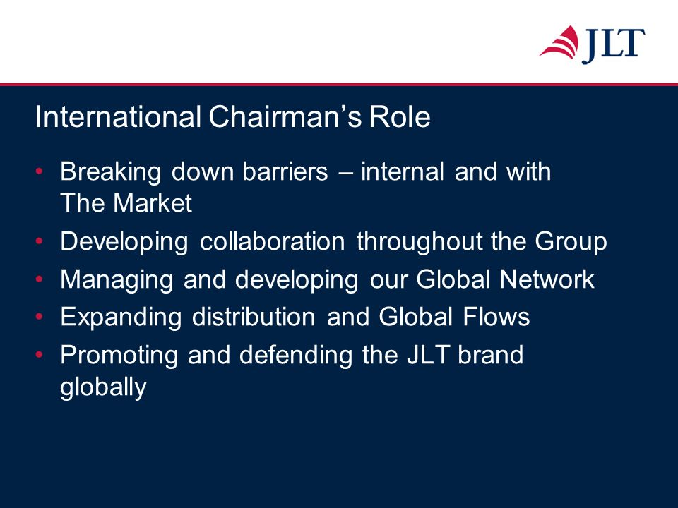 International Chairmans Role Breaking down barriers – internal and with The Market Developing collaboration throughout the Group Managing and developi