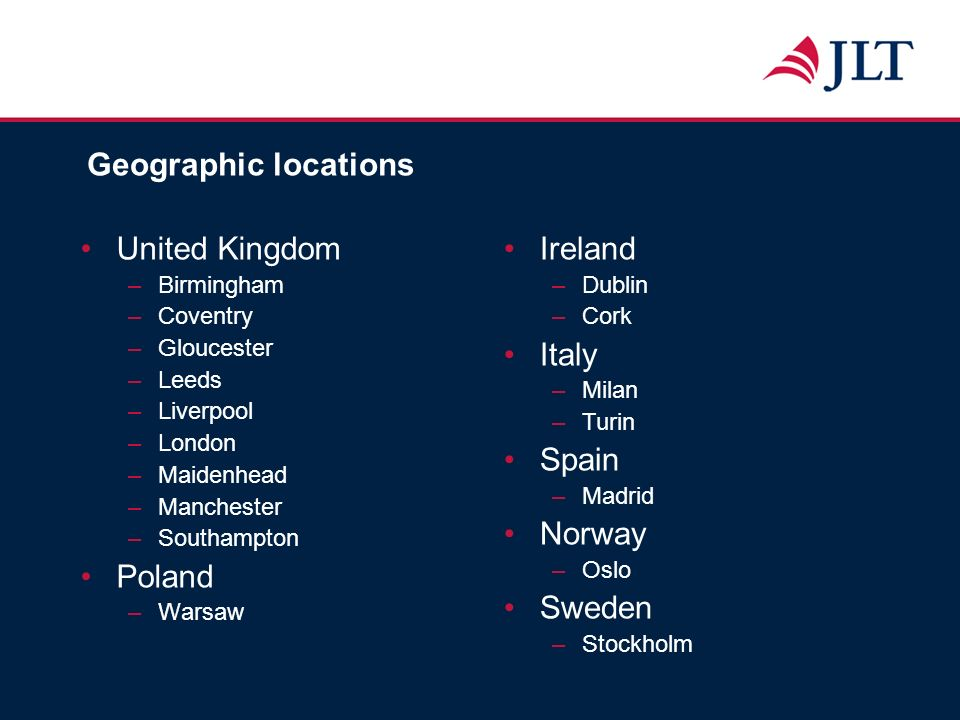 Geographic locations United Kingdom –Birmingham –Coventry –Gloucester –Leeds –Liverpool –London –Maidenhead –Manchester –Southampton Poland –Warsaw Ir