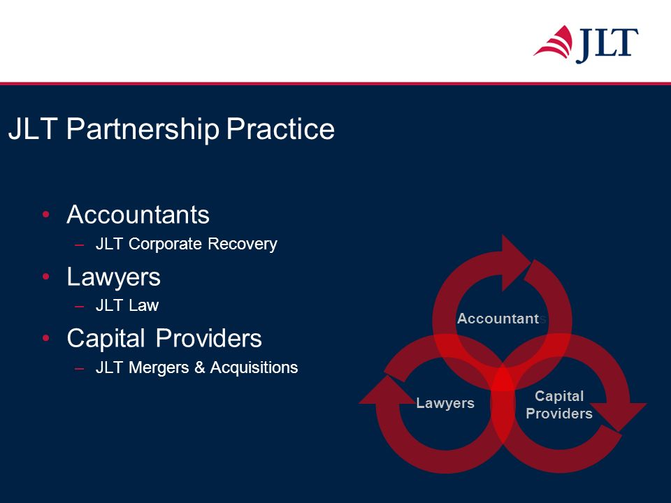 JLT Partnership Practice Accountants –JLT Corporate Recovery Lawyers –JLT Law Capital Providers –JLT Mergers & Acquisitions Accountants Lawyers Capita