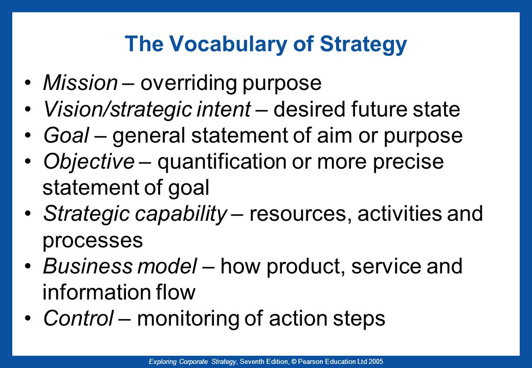 Exploring Corporate Strategy, Seventh Edition, © Pearson Education Ltd 2005 The Vocabulary of Strategy Mission – overriding purpose Vision/strategic i