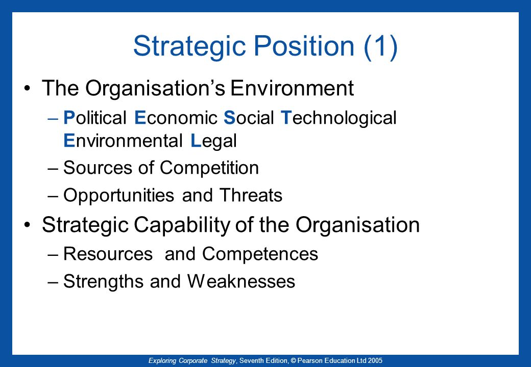 Exploring Corporate Strategy, Seventh Edition, © Pearson Education Ltd 2005 Strategic Position (1) The Organisations Environment –Political Economic S