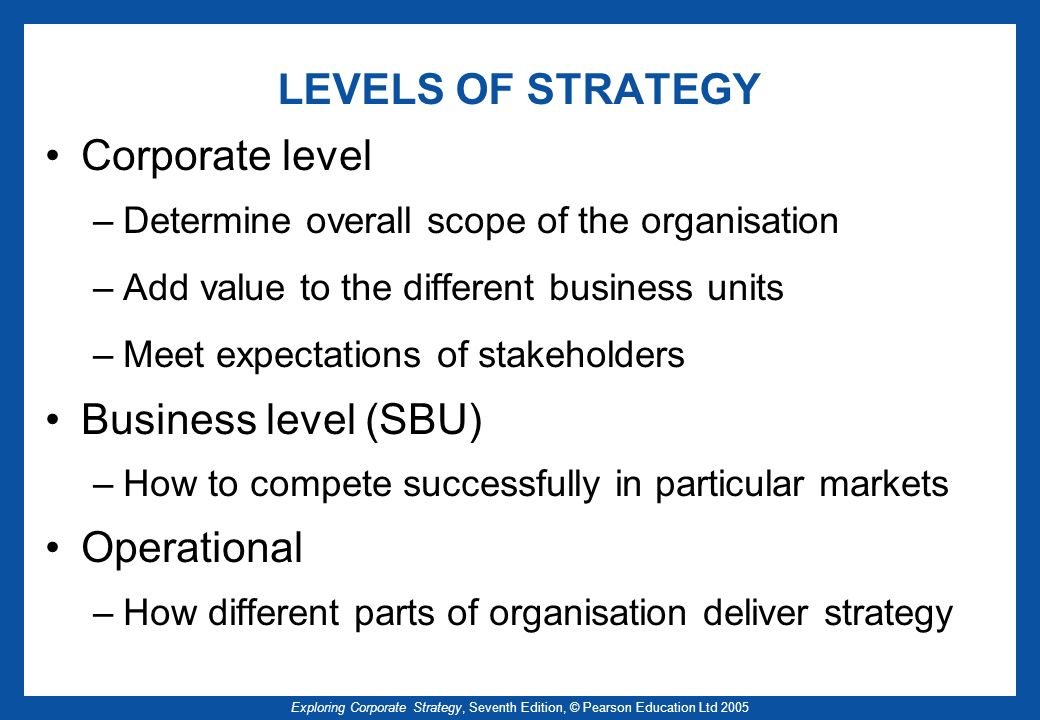 Exploring Corporate Strategy, Seventh Edition, © Pearson Education Ltd 2005 LEVELS OF STRATEGY Corporate level –Determine overall scope of the organis