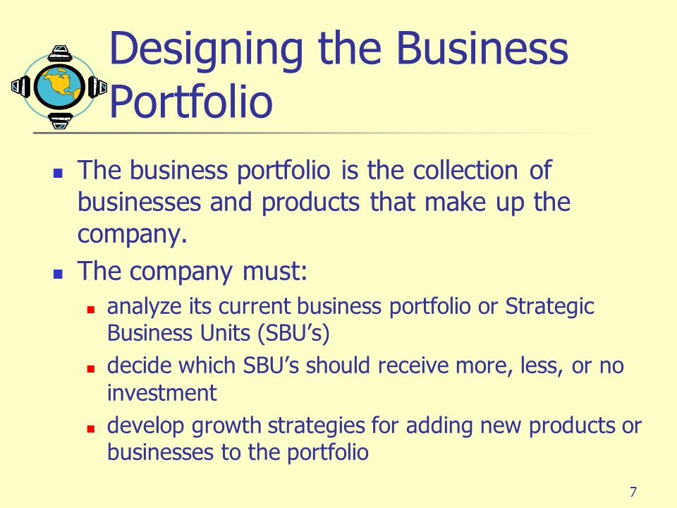 7 Designing the Business Portfolio The business portfolio is the collection of businesses and products that make up the company. The company must: ana