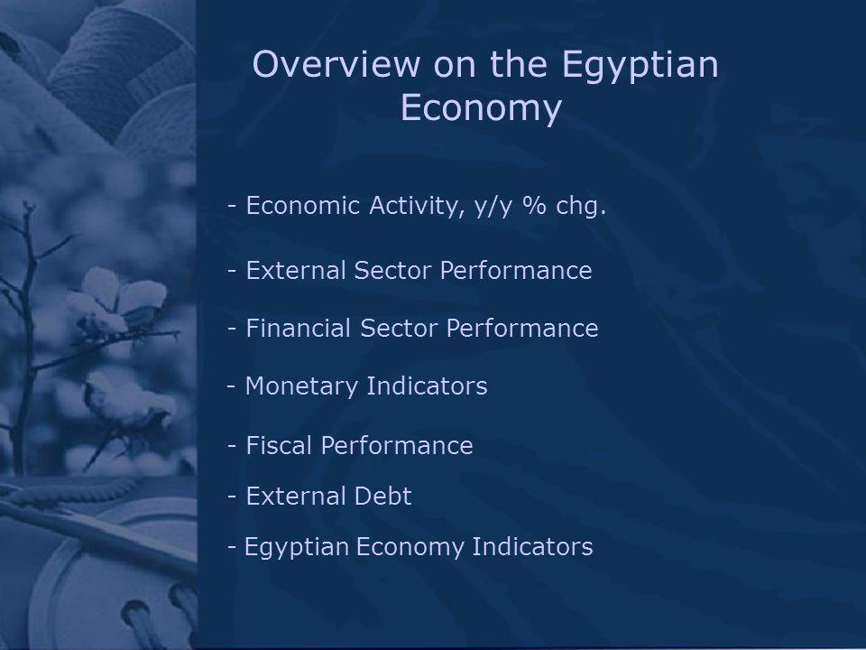 Overview on the Egyptian Economy - Economic Activity, y/y % chg. - Monetary Indicators - Egyptian Economy Indicators - External Sector Performance - F