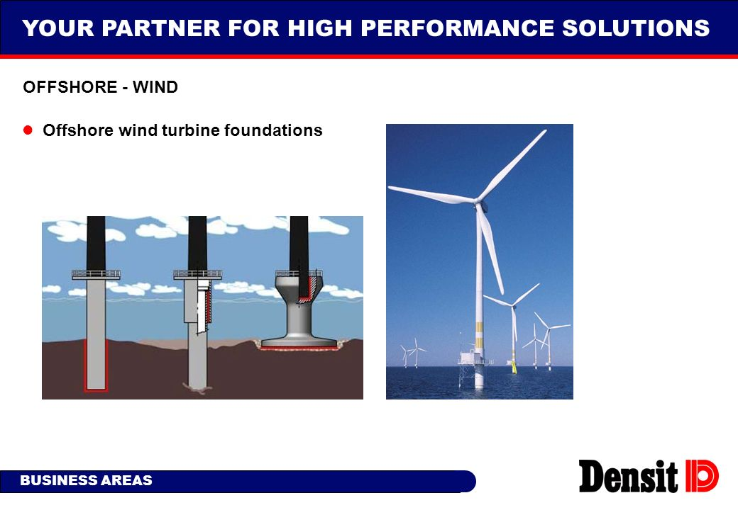 YOUR PARTNER FOR HIGH PERFORMANCE SOLUTIONS BUSINESS AREAS OFFSHORE - WIND Offshore wind turbine foundations