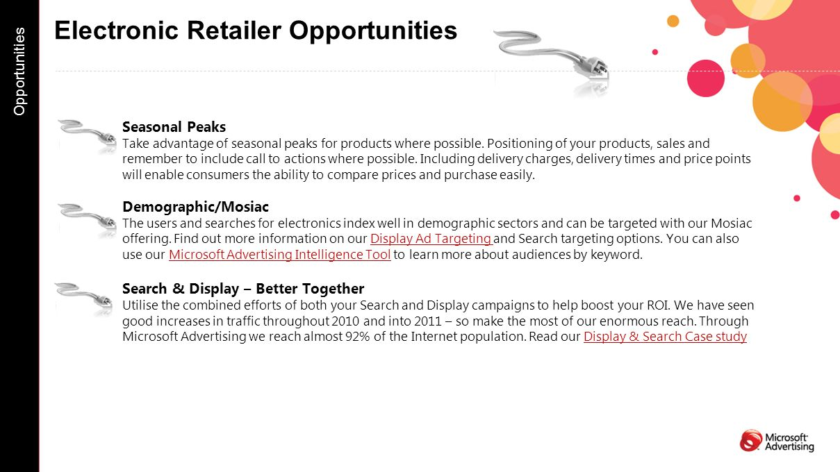 Electronic Retailer Opportunities Seasonal Peaks Take advantage of seasonal peaks for products where possible. Positioning of your products, sales and