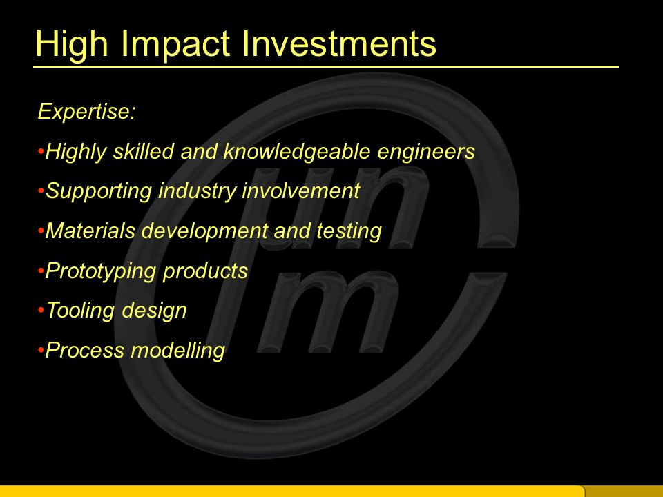 High Impact Investments New Projects Actioned: Novel Optical Moulding Packaging Dispenser New Material Development
