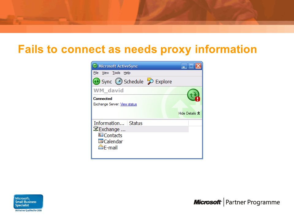 Fails to connect as needs proxy information
