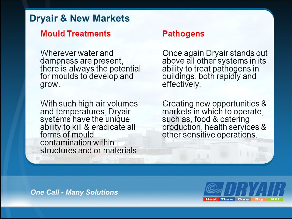 Dryair & New Markets Mould Treatments Wherever water and dampness are present, there is always the potential for moulds to develop and grow. With such