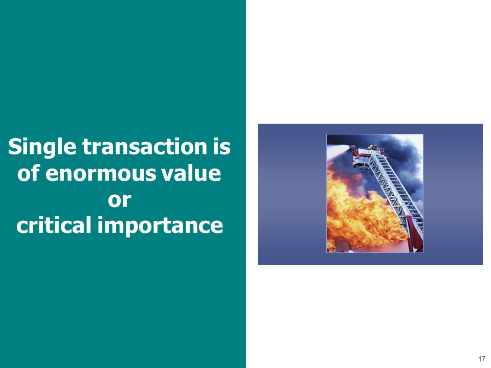 17 Single transaction is of enormous value or critical importance