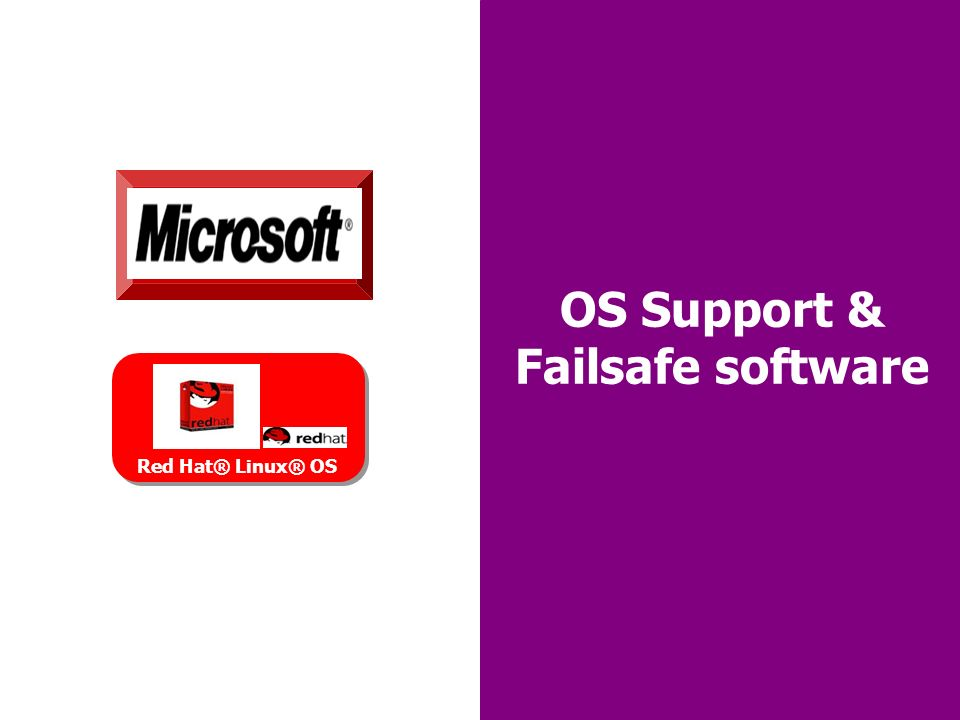 30 OS Support & Failsafe software Red Hat® Linux® OS