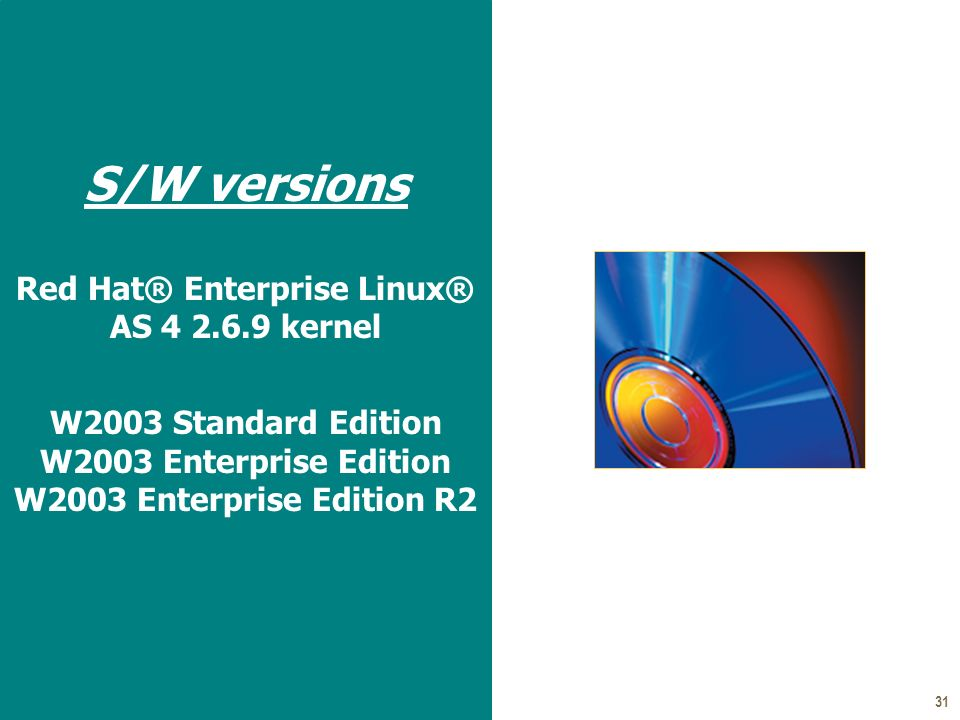 31 S/W versions Red Hat® Enterprise Linux® AS 4 2.6.9 kernel W2003 Standard Edition W2003 Enterprise Edition W2003 Enterprise Edition R2