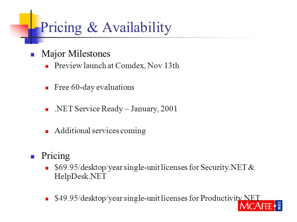 Pricing & Availability Major Milestones Preview launch at Comdex, Nov 13th Free 60-day evaluations.NET Service Ready – January, 2001 Additional servic
