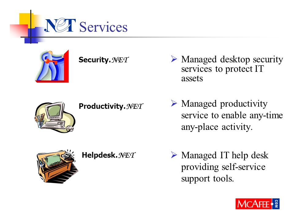 Services Managed desktop security services to protect IT assets Managed productivity service to enable any-time any-place activity. Managed IT help de