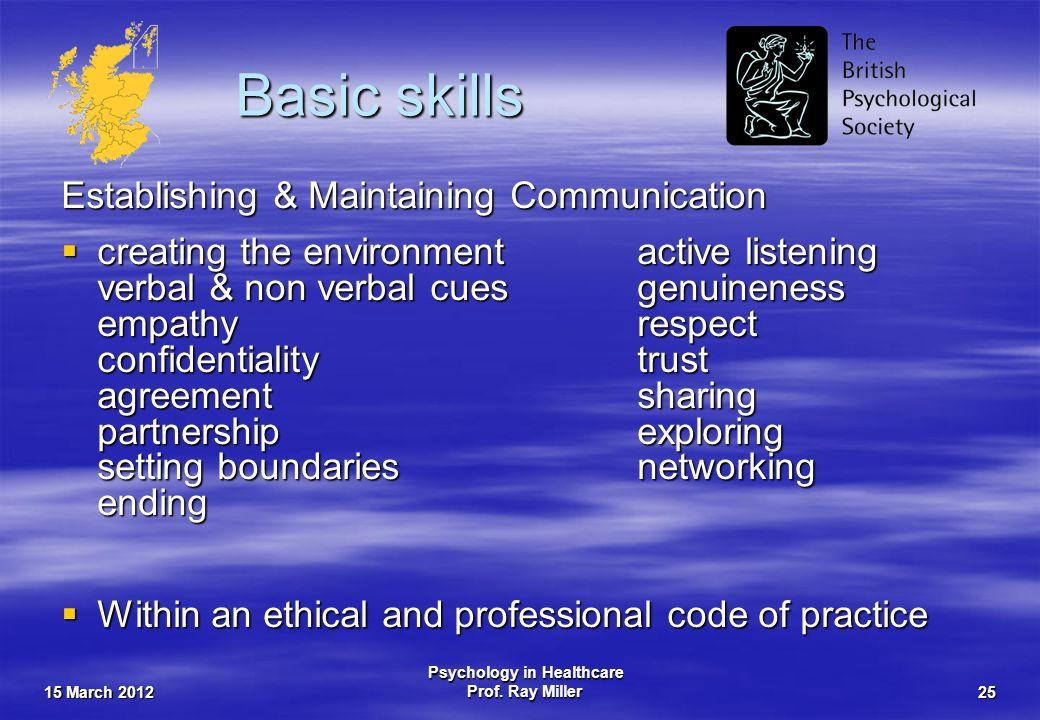 15 March 2012 Psychology in Healthcare Prof. Ray Miller25 Basic skills Establishing & Maintaining Communication creating the environmentactive listeni
