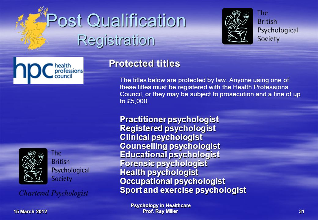 15 March 2012 Psychology in Healthcare Prof. Ray Miller31 Post Qualification Registration Protected titles The titles below are protected by law. Anyo