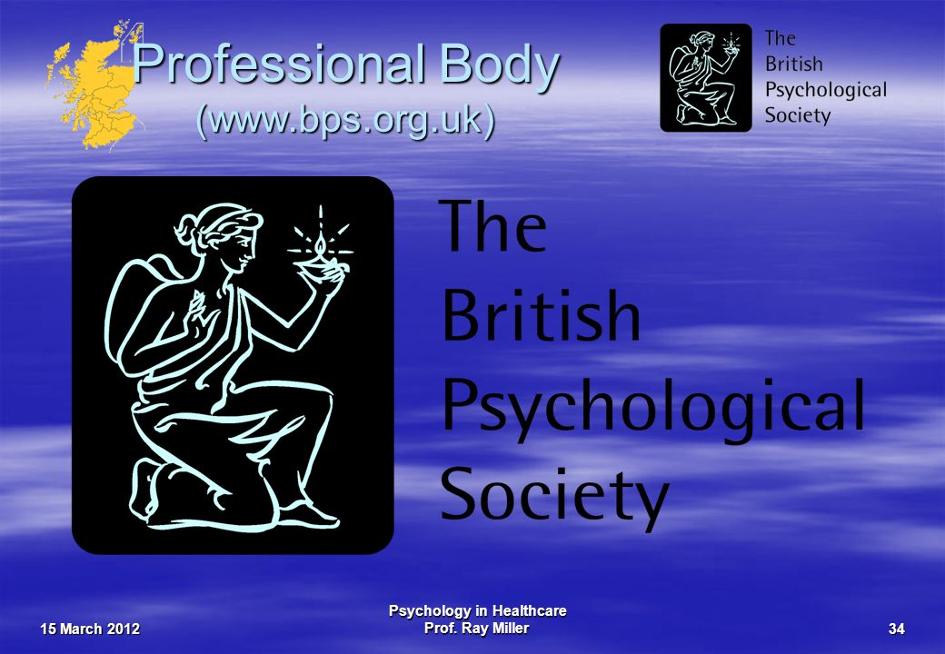 15 March 2012 Psychology in Healthcare Prof. Ray Miller34 Professional Body (www.bps.org.uk)