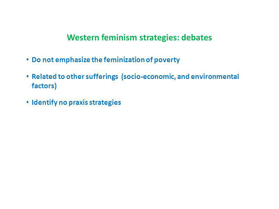 Western feminism strategies: debates Do not emphasize the feminization of poverty Related to other sufferings (socio-economic, and environmental factors) Identify no praxis strategies