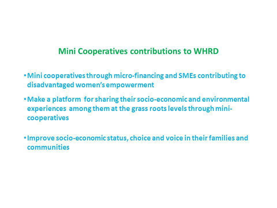 Mini Cooperatives contributions to WHRD Mini cooperatives through micro-financing and SMEs contributing to disadvantaged womens empowerment Make a platform for sharing their socio-economic and environmental experiences among them at the grass roots levels through mini- cooperatives Improve socio-economic status, choice and voice in their families and communities