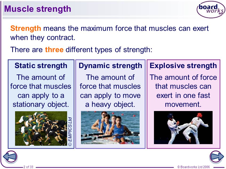 © Boardworks Ltd 20062 of 33 Muscle strength Strength means the maximum force that muscles can exert when they contract. There are three different typ