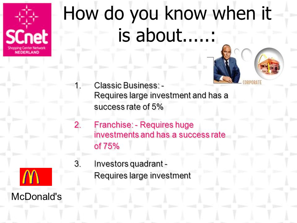 1.Classic Business: - Requires large investment and has a success rate of 5% 2.Franchise: - Requires huge investments and has a success rate of 75% 3.