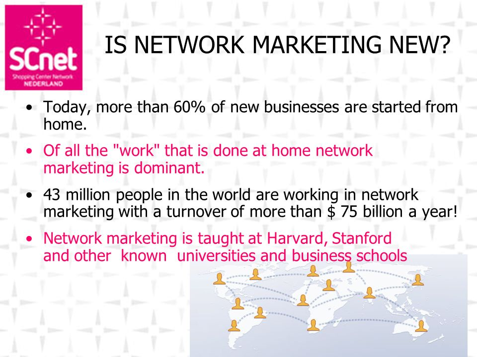 IS NETWORK MARKETING NEW? Today, more than 60% of new businesses are started from home. Of all the