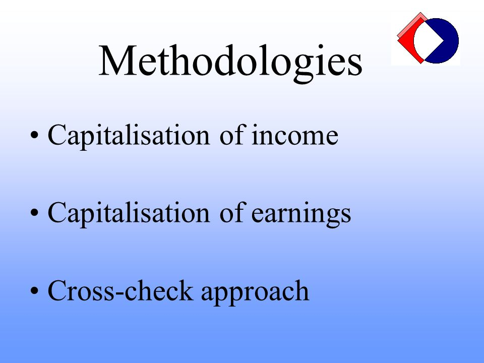 Methodologies Capitalisation of income Capitalisation of earnings Cross-check approach